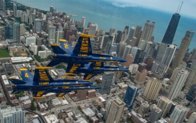 United States Navy Flight Demonstration Team, The Blue Angles, diamond team pilots, Fly Over Chicago, Illinois, August 16, 2019.