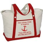 Canvas Zippered Tote Bag/White w/Red